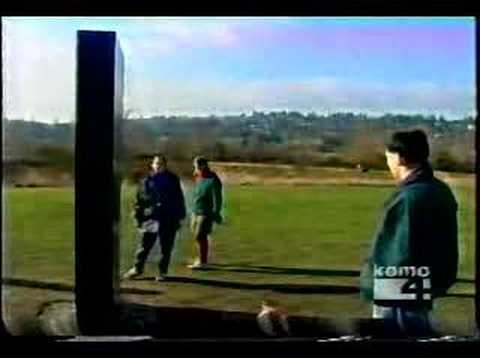 Mysterious monolith appears in Seattle's Magnuson Park on 01/01/2001